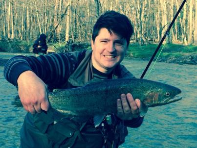 First steelhead. One of my stupid looking grins.